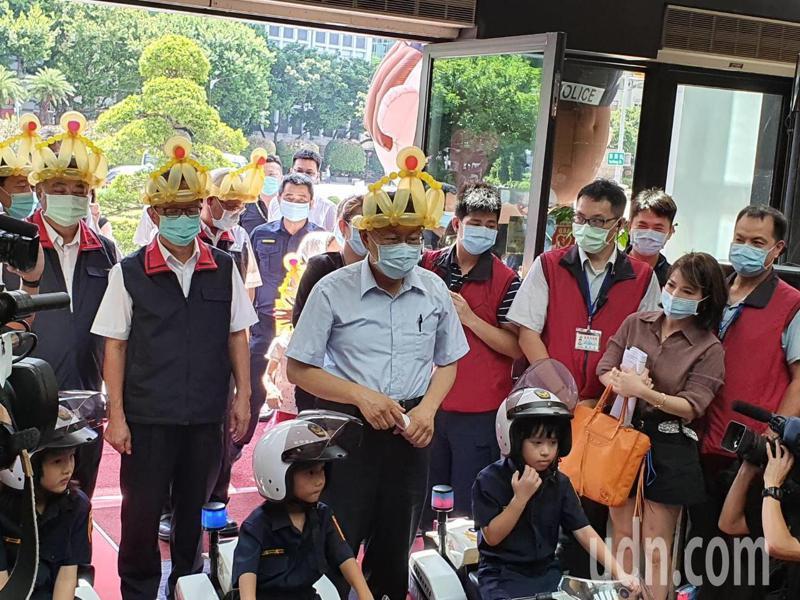 台北市長柯文哲上午參加警察局親子日活動。記者楊正海/攝影
