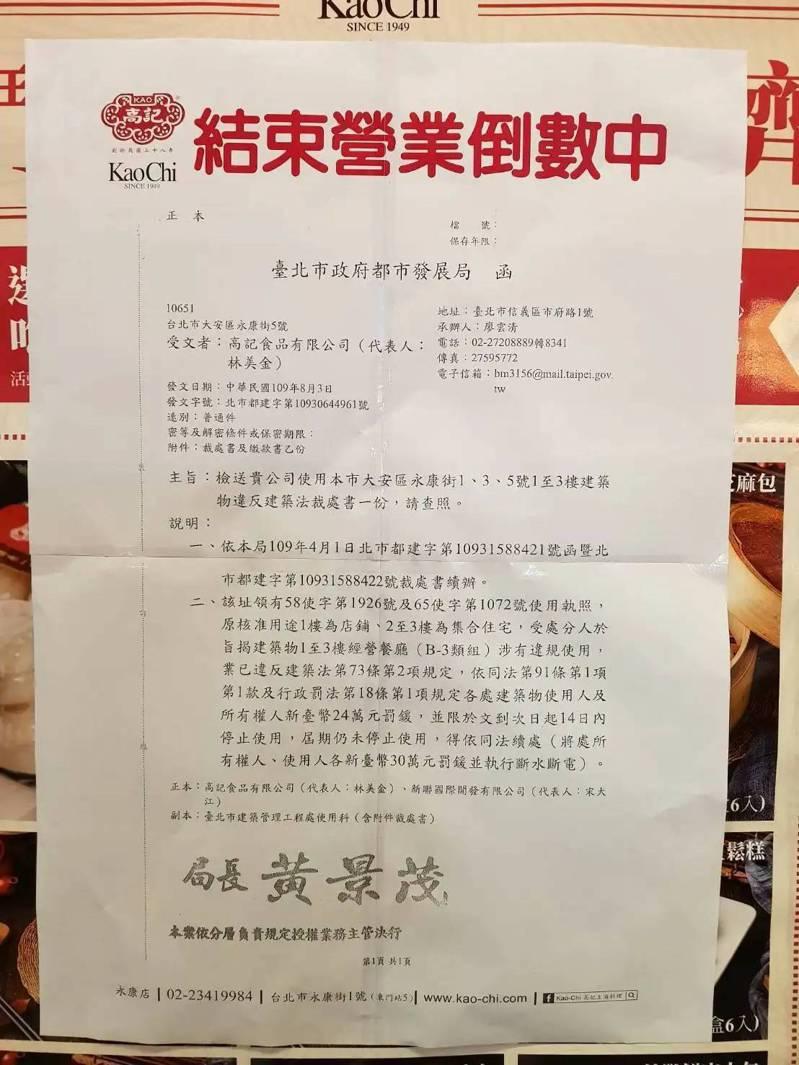 著名的永康街高記餐廳,因違規使用遭北市裁罰。報系資料照