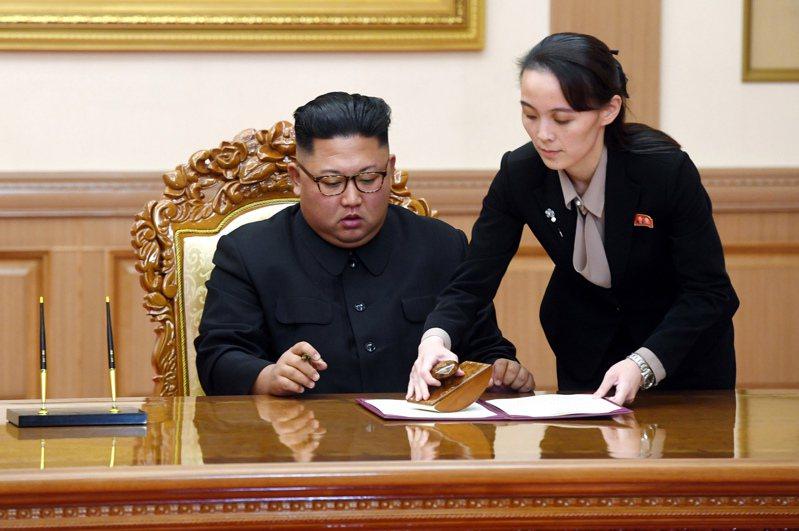 金正恩(左)2018年9月19日在平壤會見南韓總統文在寅後,簽署共同聲明,金與正(右)在旁協助。(美聯社)