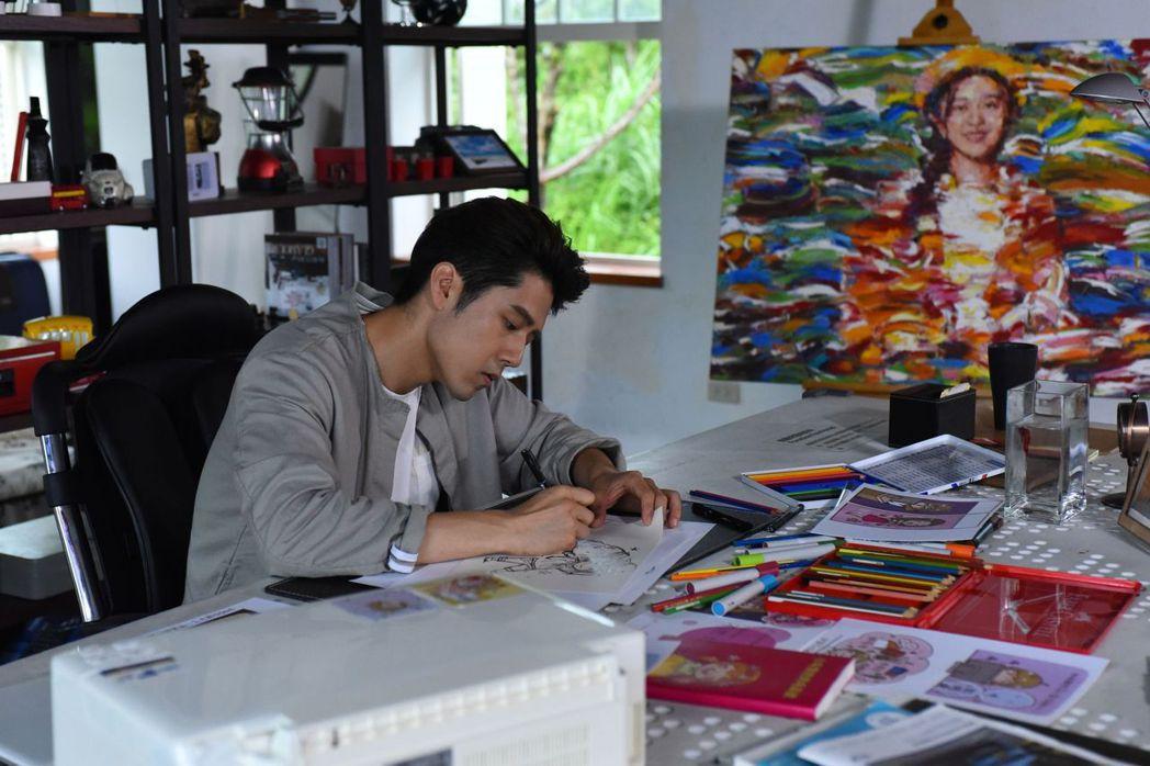 胡宇威在「那刻的怦然心動」中飾演天才畫家。圖/中天娛樂台提供