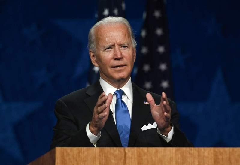 民主黨總統候選人拜登20日發表接受提名演說。(美聯社)