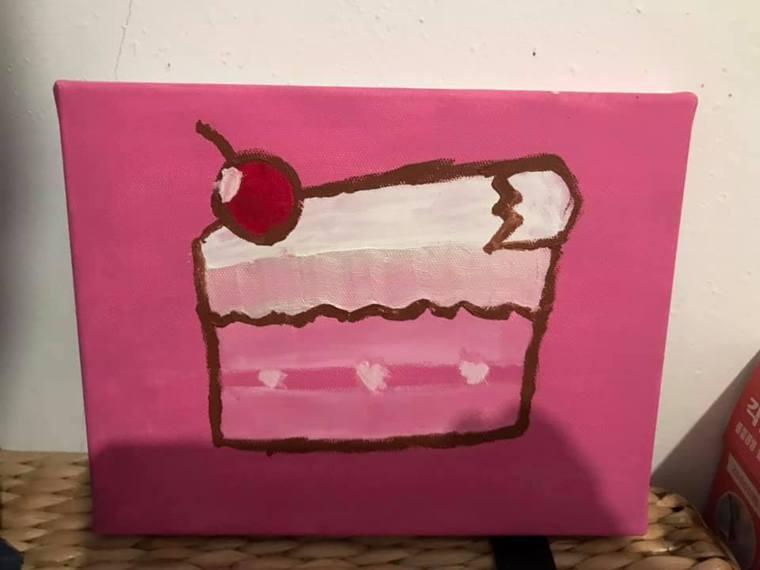 爸爸為喜歡甜點的媽媽畫的畫。圖/黃一郎提供