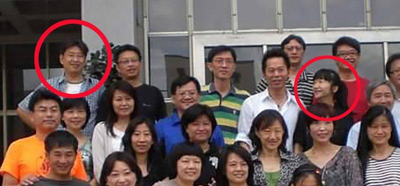 2011年政大新聞80年班20年同學會,項賓和在左上角,陶晶瑩在右上角,當時還是李李仁開車載陶過去。圖/讀者提供