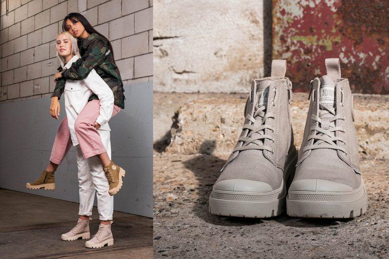Palladium特別推出了兩款新靴,讓人在造型上能夠達到視覺增高,同時修飾身形比例,成為長腿小姐姐。圖/Palladium提供