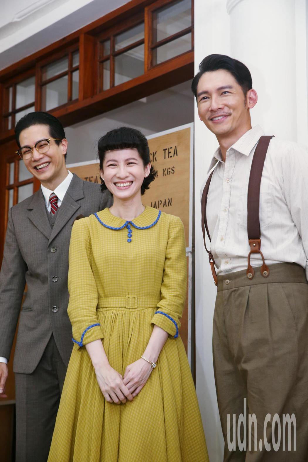 溫昇豪(右起)、連俞涵、薛仕凌出席「茶金」開鏡記者會。記者曾原信/攝影