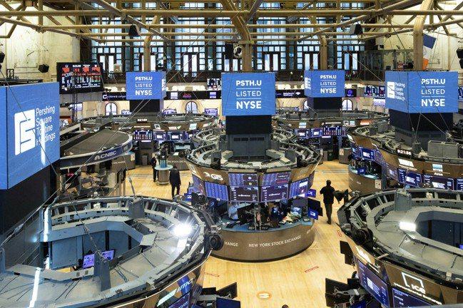 美股24日早盤大漲逾200點。美聯社
