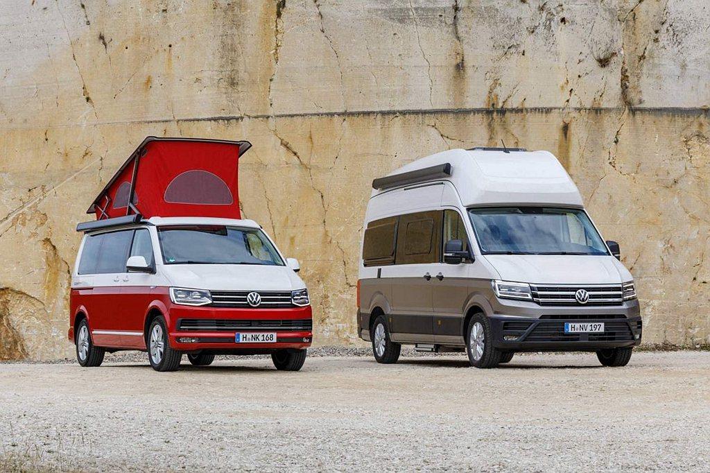 德國福斯商旅旗下露營車選擇多元,除了有最熱賣的California(加州、左)之...