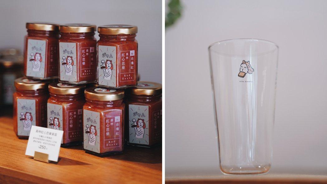 niko bakery日香販售在欉紅獨家研發果醬,以及與春池玻璃合作新杯型。 圖...