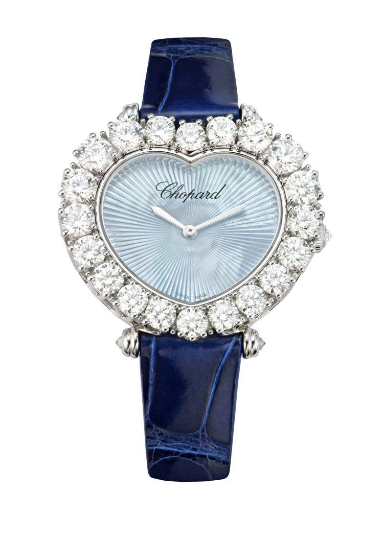 蕭邦L'Heure du Diamant系列鑽表,獲公平採礦認證之18K白金鑲嵌...
