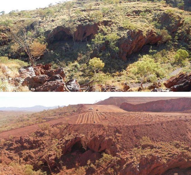 力拓集團在今年5月炸毀的朱坎岩棚(Juukan rockshelters),這是澳洲原住民已知最早的聚落遺跡之一。圖上為開發前的岩棚,圖下為力拓集團開發後。法新社