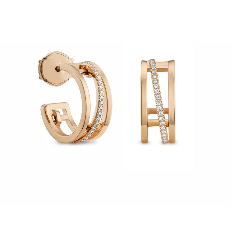 De Beers Horizon 18K玫瑰金鑽石耳環,12萬1,000元。圖/...