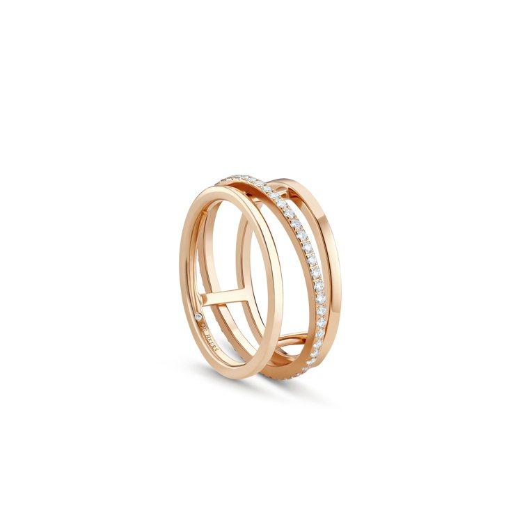 De Beers Horizon 18K玫瑰金鑽石戒指,11萬3,000元。圖/...
