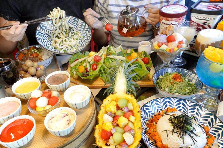 熊一燒肉同樣提供299吃到飽的午茶專案,包括有沙拉、冷麵、冰淇淋等選擇。圖/馬辣...