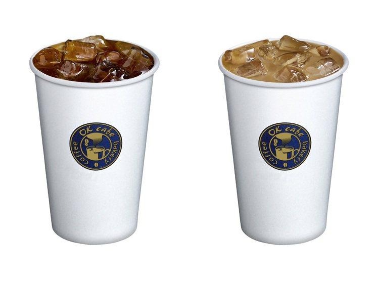 OKmart七夕(8月25日)限定大杯冰拿鐵(原價55元)、大杯冰美式咖啡(原價...
