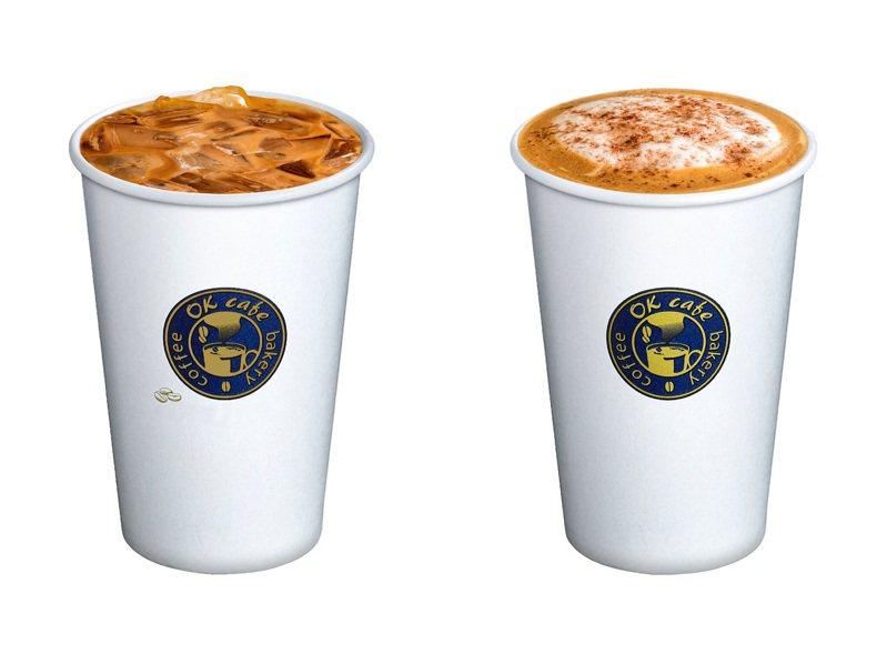 OKmart七夕(8月25日)限定鴛鴦奶茶(原價65元)、摩卡拿鐵(原價65元)可享任選兩杯特價77元,兩款皆能購買冰或熱飲。圖/OKmart提供