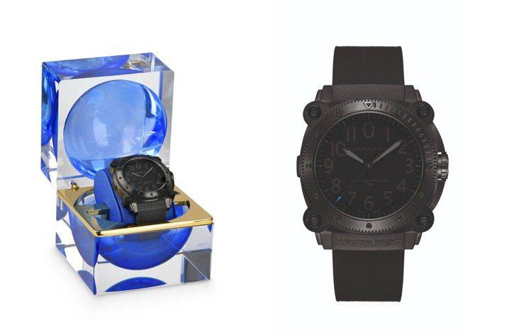 電影「天能」的特別「藍針款」BeLOWZERO腕表,68,500元,並附特製表盒...