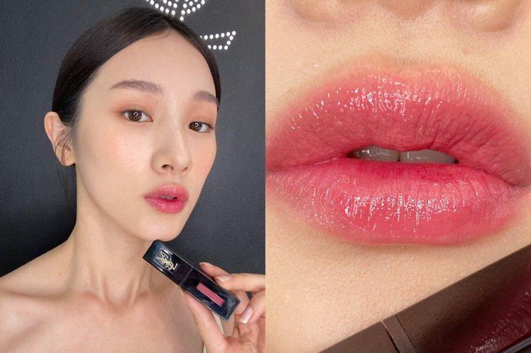 YSL奢華緞面漆光唇釉#419粉色樂章/1,300元。圖/YSL提供