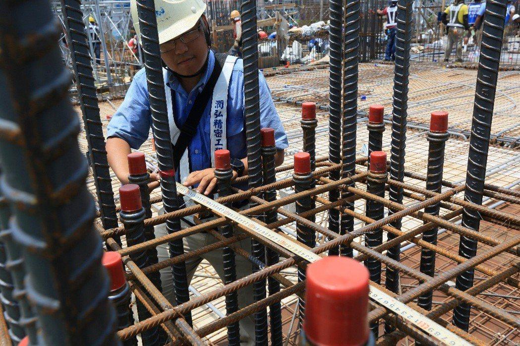 鋼筋綁紮工程現場照。 圖/潤泰創新 提供