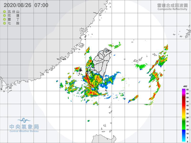 中央氣象局針對台南市、高雄市發布大雷雨即時訊息。圖/取自氣象局網站