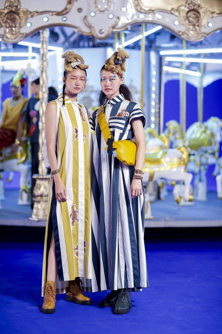JAMEI CHEN秋冬女裝(左)熊印花條紋無袖禮服、繡花拼接後背包;(右)熊印...