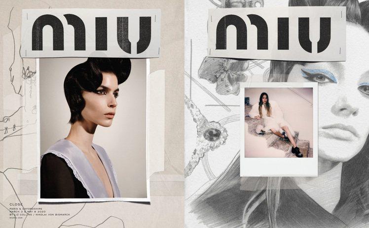 MIUMIU秋冬系列形象廣告,經由親手剪貼打造出拼貼畫,像是以前學生時代的美術作...