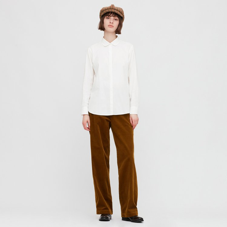 UNIQLO女裝IDLF燈芯絨寬褲1,290元。圖/UNIQLO提供