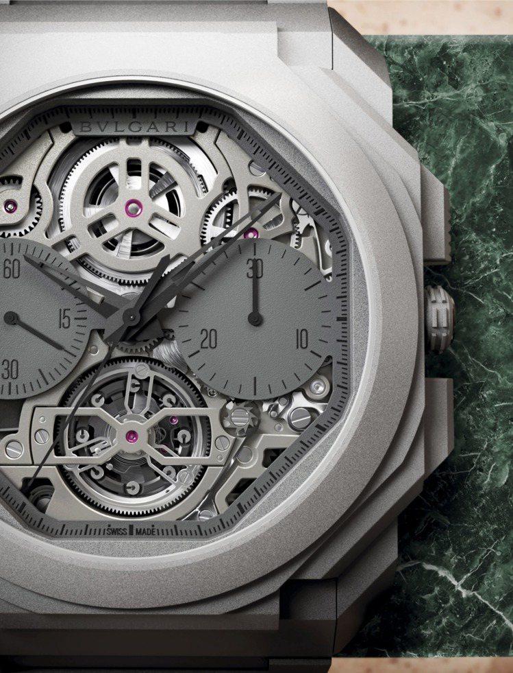 BVLGARI發表超薄鏤空陀飛輪自動計時腕表,再破超薄紀錄,全球限量50只,44...