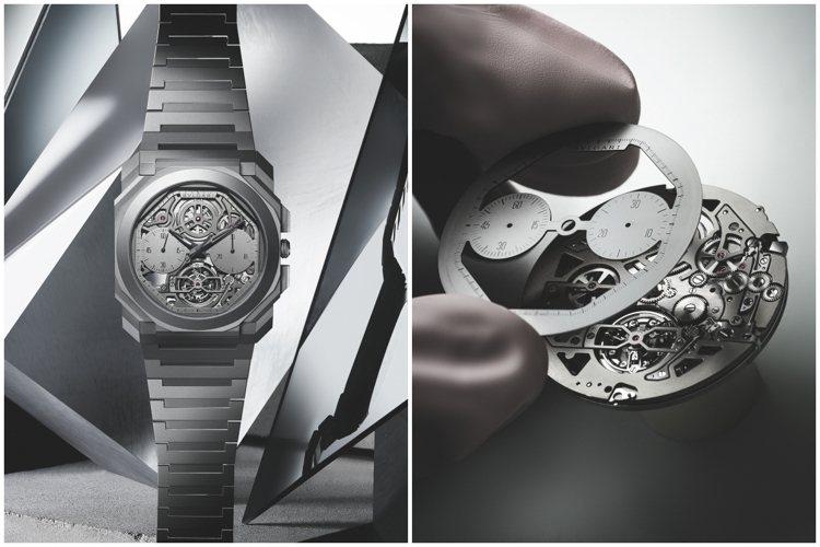 BVLGARI發表超薄鏤空陀飛輪自動計時腕表,再破超薄紀錄。圖/寶格麗提供