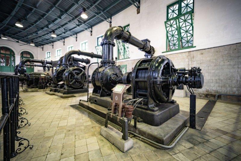 博物館內一座1922年的抽水機,全球只剩台北還有一座。 圖/楊正海 攝影