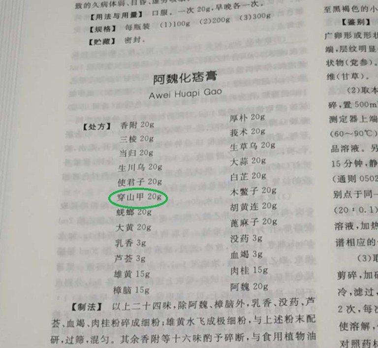 2020年版本《中國藥典》中,可以看到仍有部分專利藥物處方中仍可使用穿山甲。 圖...