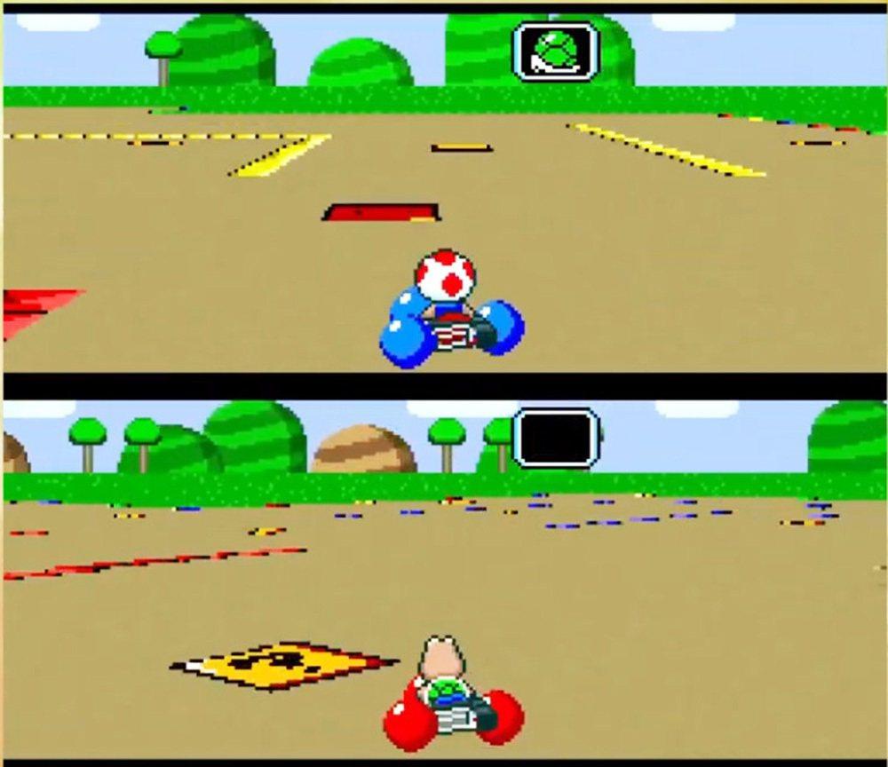 起初由於硬體機能限制,最早超任版的瑪利歐賽車僅支援兩人同時遊玩,雙人遊玩時採用畫...