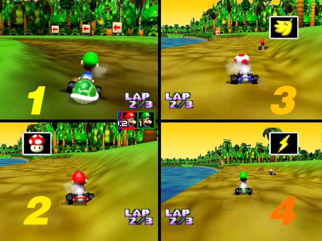 到了 N64 主機上的《瑪利歐賽車 64》時,可以同時支援四人對戰,也因此本作相...
