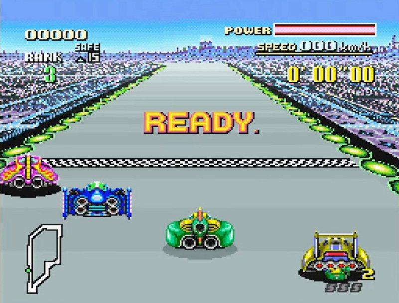 1990 年與超任主機一同發售的《F-ZERO》,該款遊戲也有被收錄在後來的迷你...