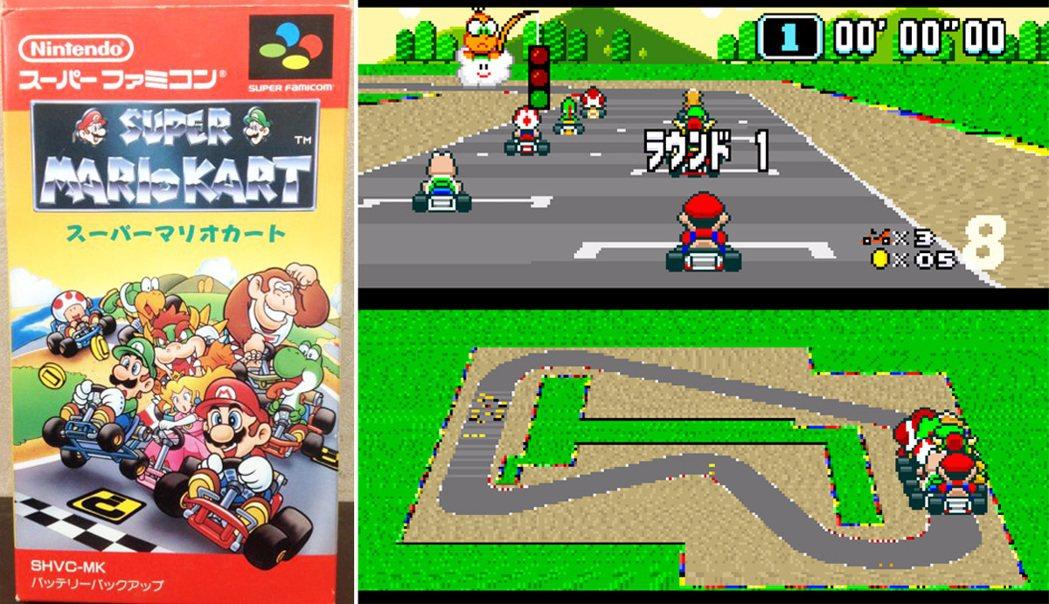 超級任天堂的《瑪利歐賽車》之卡帶遊戲封面與遊戲畫面。推出之後在日本當地就賣出將近...