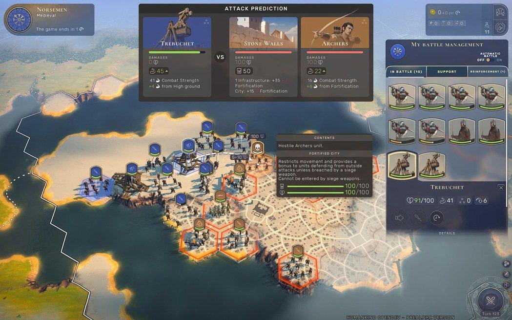 強大的攻城投石機讓我軍不費吹灰之力就攻破城牆與敵軍