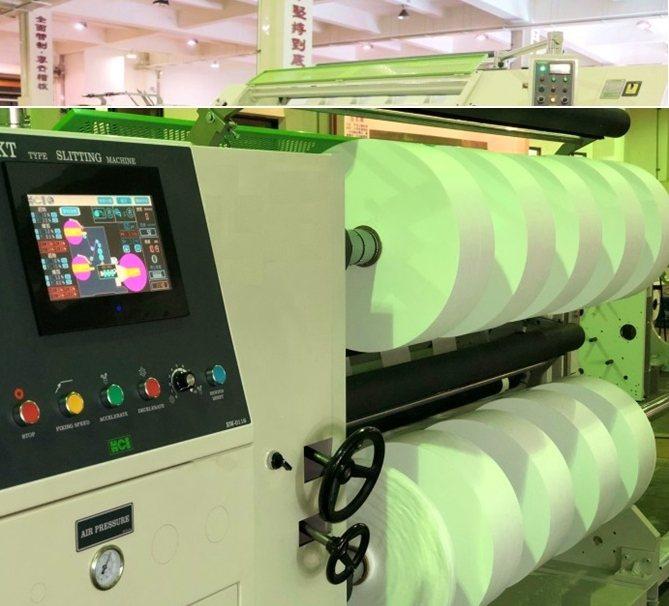 華周工業全新推出熔噴布專用分條複捲機FSL-KT系列配備PLC及HMI人機介面控...
