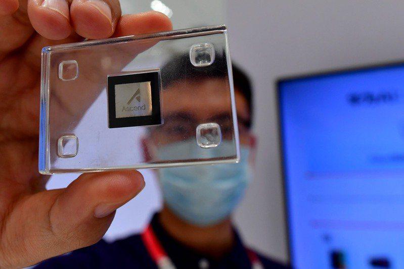 華為AI芯片亮相福州。8月19日,福建福州,峰會展示區工作人員展示華為研發的AI芯片。 中國新聞社