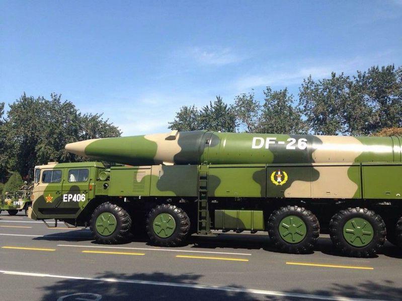 中共大閱兵現身的「東風26」。(環球網)