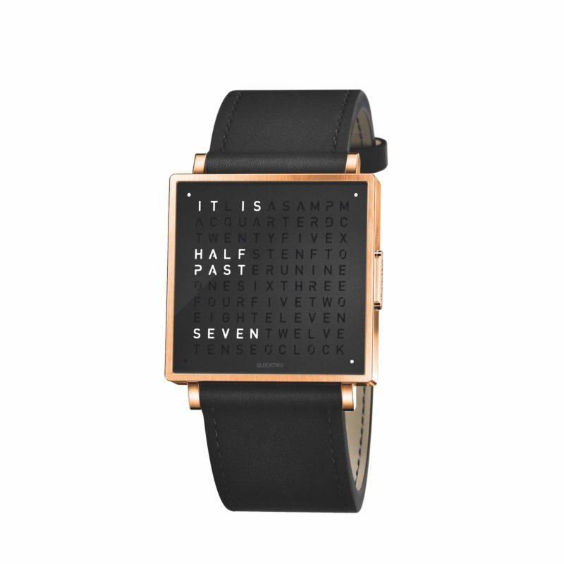 QlockTwo,W39 Pure BlackRosegold PVD腕表,35...