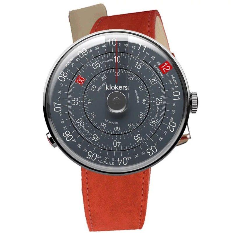 Klokers,KLOK-01-D8 深灰色表面搭配單圈皮革表帶,19,200元...