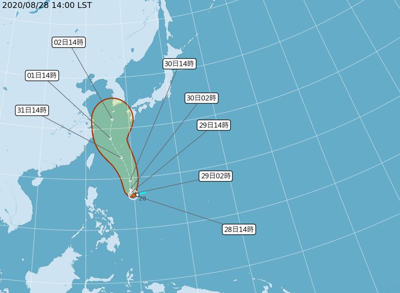 中央氣象局表示,位於菲律賓東方海面上的熱帶性低氣壓,今天下午2時增強為今年第9號颱風梅莎(國際命名:MAYSAK),預測向琉球南方海面移動,目前對台灣地區無直接影響。圖擷自中央氣象局
