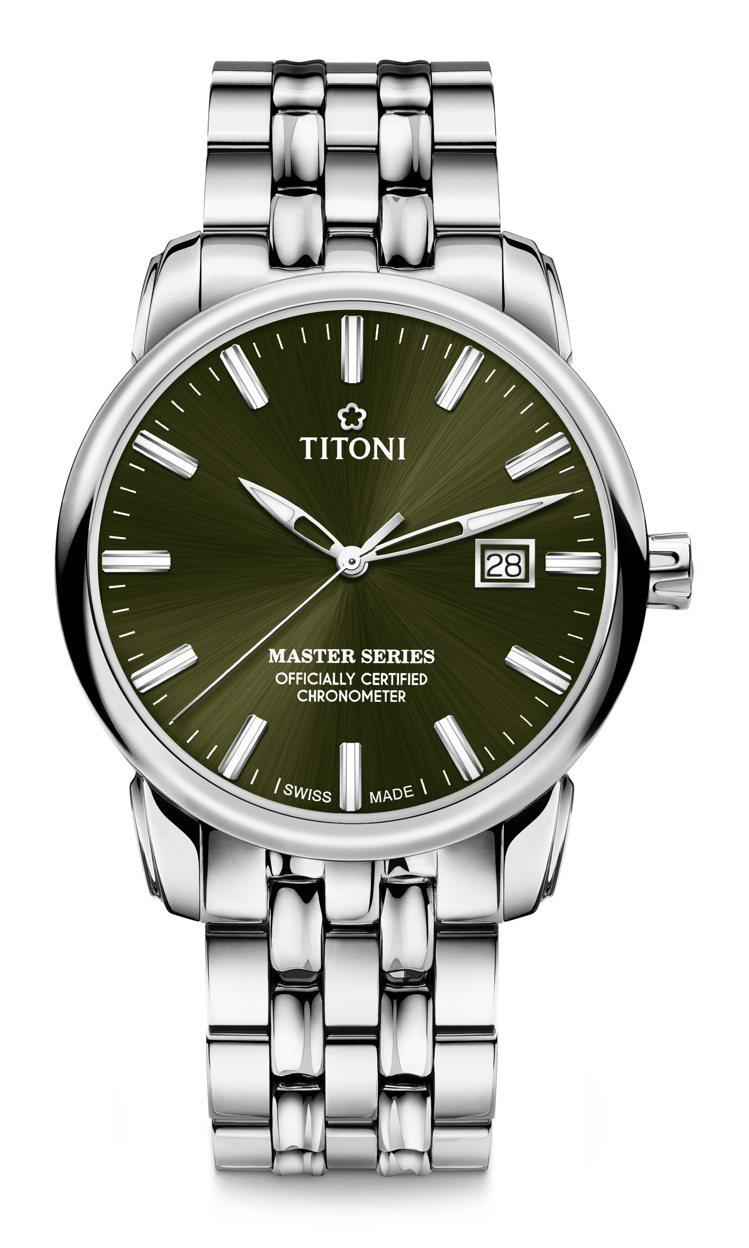 TITONI,大師系列天文台腕表,自動上鍊機芯,41毫米,精鋼,時間顯示、日期顯...