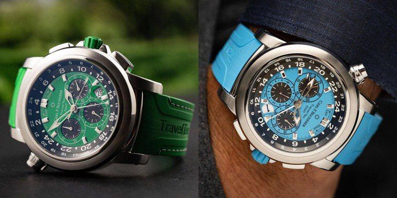 以四季為靈感的寶齊萊Travel Tec GMT腕表,又有橘、藍、黃、綠四種配色。圖 / 翻攝自ig。