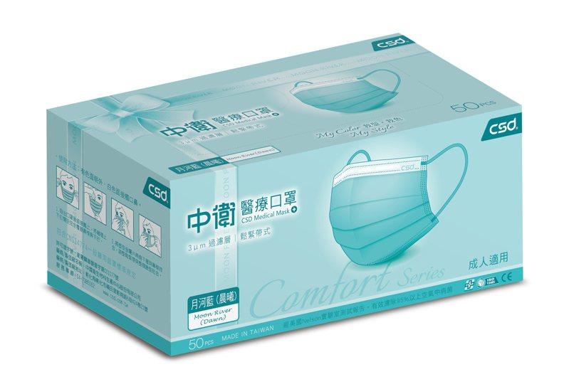 屈臣氏指定門市8月30日限量開賣中衛醫療口罩50片盒裝-月河藍(晨曦),會員價300元,限量售完為止。圖/屈臣氏提供