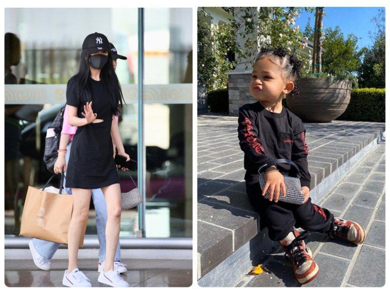 楊冪和2歲的Stormi Webster撞包。圖/取自微博、IG
