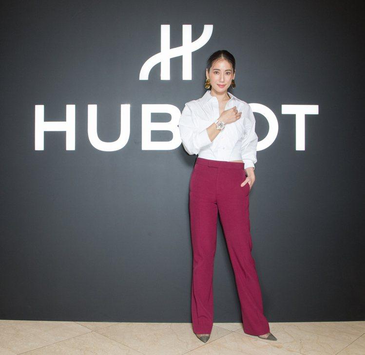盧南君出席HUBLOT宇舶錶台灣首間融合的藝術期間限定店。圖/宇舶表提供