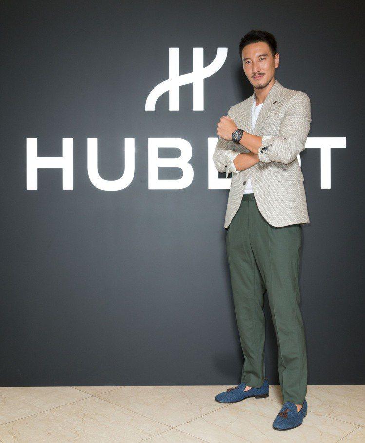 王陽明出席HUBLOT宇舶表台灣首間融合的藝術期間限定店。圖/宇舶表提供