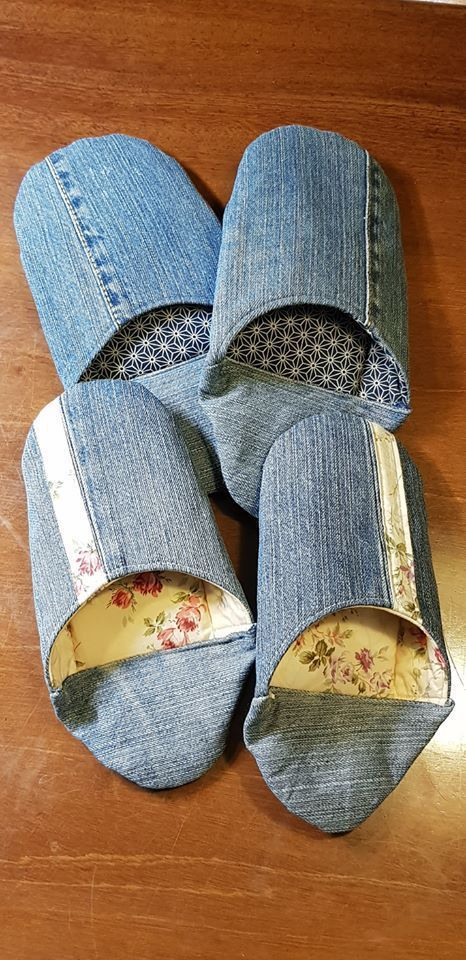 利用淘汰的牛仔褲作室內鞋,為小日子增添手作的美好。圖/林佩怡提供