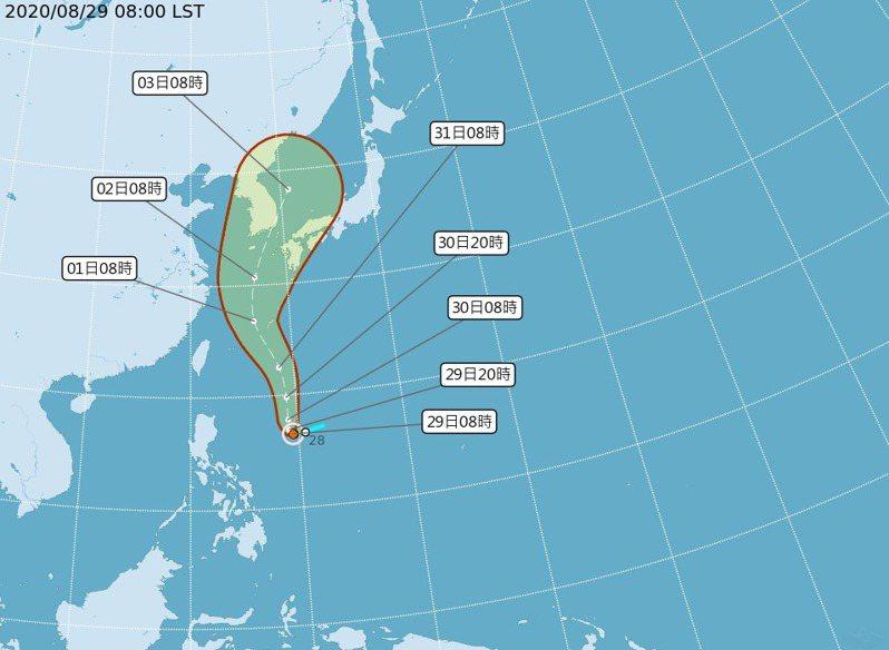 今年第9號颱風梅莎,昨天下午2時形成。圖/取自中央氣象局網站