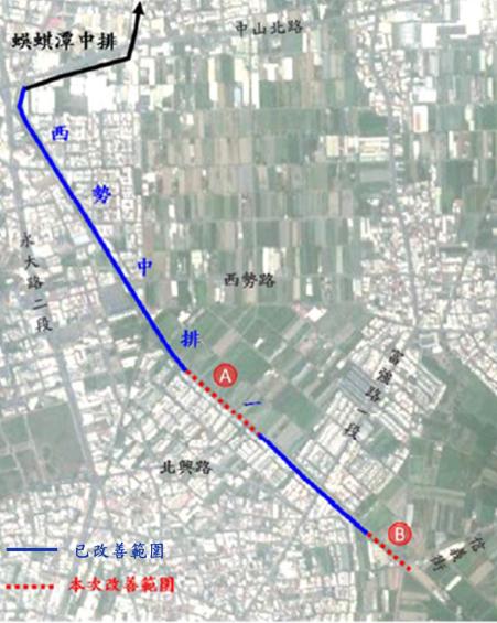 台南永康西勢中排一排水不良常氾濫 ,市府預計明年完成全線整治,圖為改善規畫路線。圖/水利局提供
